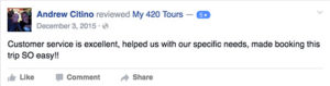 My 420 Tours Facebook Reviews