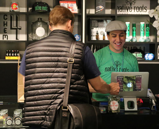 man shopping at Colorado weed dispensary
