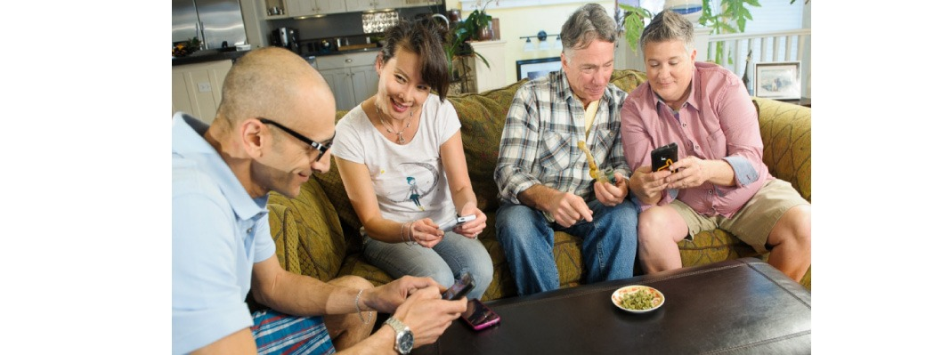 People socializing over pot