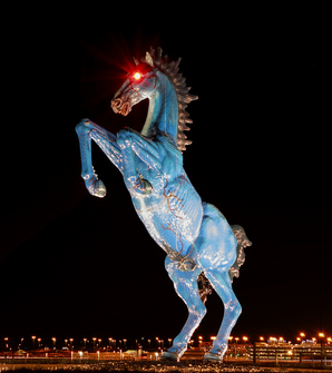 Blucifer sculpture Denver DIA horse