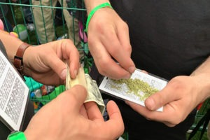 Hands Rolling Joints at Concert
